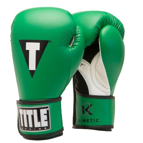 Перчатки тренировочные TITLE KINETIC AEROVENT BOXING GLOVES GREEN/BLACK